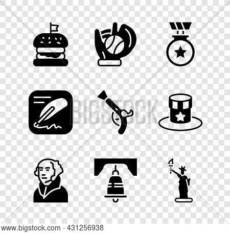 Set Burger, Baseball Glove With Ball, Medal Star, George Washington, Liberty Bell Philadelphia, Stat