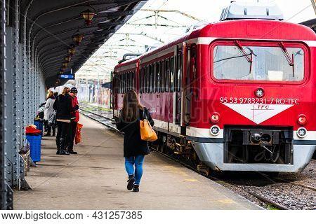 Detail Train View. Train On The Platform Of Bucharest North Railway Station (gara De Nord Bucuresti)