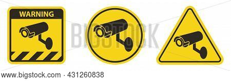 Set Symbol  Video Surveillance Icon.cctv Camera Sign