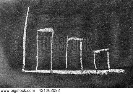 White Color Chalk Drawing As Downward Bar Graph On Blackboard Or Chalkboard Background (concept For