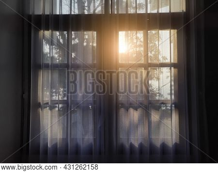 The Lighting Through The Window. Morning Sun Lighting The Room, Shadow Background Overlays.