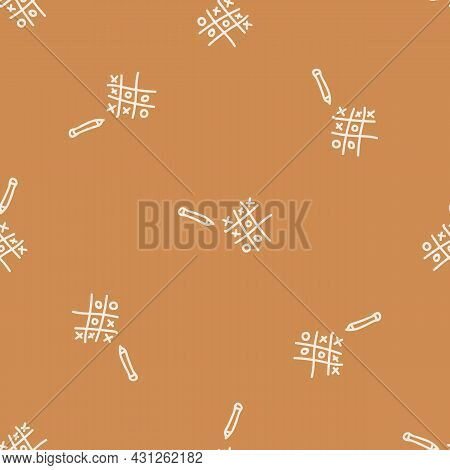 Seamless Background Tic Tac Toe Gender Neutral Pattern. Whimsical Minimal Earthy 2 Tone Color. Kids