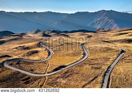 Aerial View Of A Road To The Colca Canyon In The Peruvian Andes