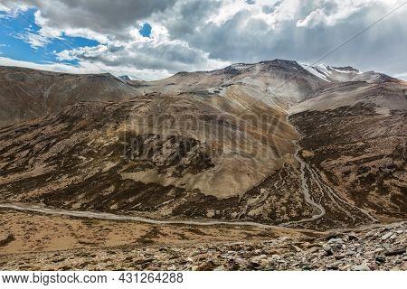 View of Himalayas near Tanglang la Pass - mountain pass on the Leh-Manali highway. Ladakh, India