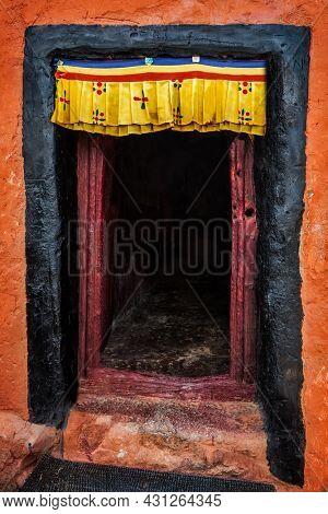 Door of Namgyal Tsemo gompa in Leh, Ladakh, India