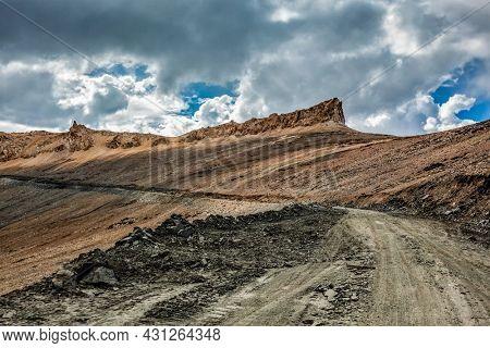 Road in Himalayas near Tanglang la Pass - Himalayan mountain pass on the Leh-Manali highway. Ladakh, India