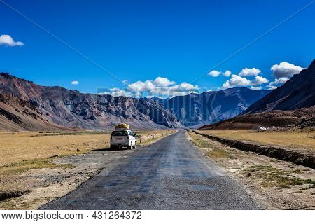 Manali-Leh road to Ladakh in Indian Himalayas with car. Sarchu, Ladakh, India