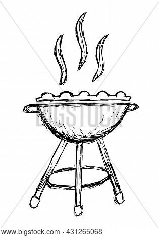 Rough Grunge Freehand Pencil Drawing Of Fuming Grill. Vector Black And White Sketch Of Barbecue Gril
