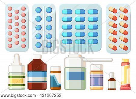 Medicines Set. Illustration With Bottles, Spray, Bandage, Ointment. Medicinal Drugs. Pharmaceuticals