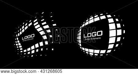 White Perspective Frame Logo Set. Abstract Rectangle Dots Emblem Design Element For Technology. Dist