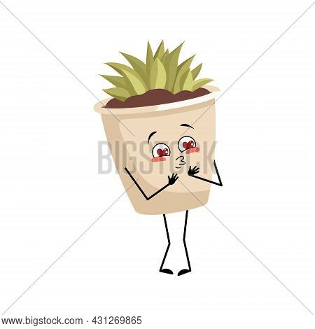 Cute Character Indoor Plant In A Pot Falls In Love With Eyes Hearts, Kiss Face, Arms And Legs. Plant