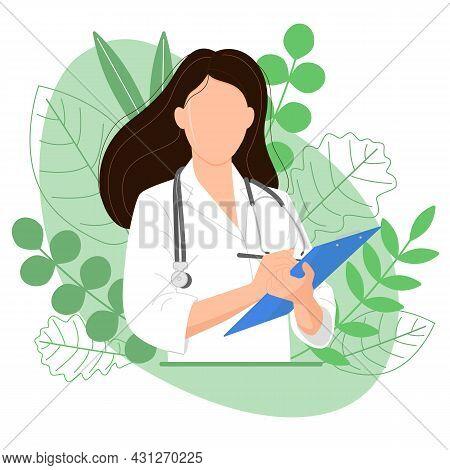 Female Doctor With Blue Tablet, Image On Green Background. Medicinal Herbs. Alternative Medicine. Ho