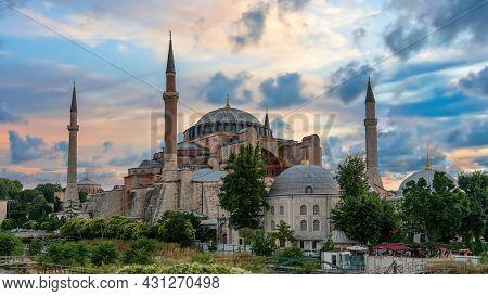 Istanbul, Turkey - July 2021: Hagia Sophia Mosque And Sultanahmet Square Under Dramatic Clouds. Hagi