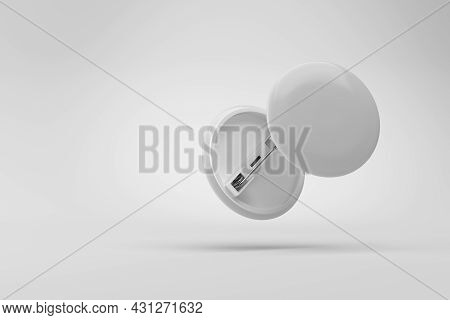 White Badge Pin On Gray Background. Mock-up Template. 3d Rendering Illustration.
