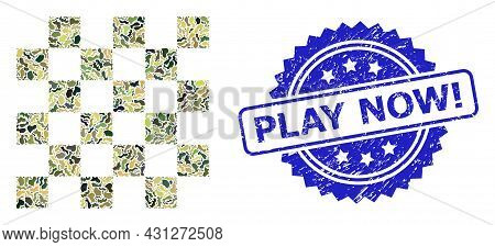 Military Camouflage Composition Of Chess Board, And Play Now Exclamation Grunge Rosette Stamp Seal.