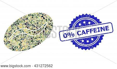 Military Camouflage Collage Of Coffee Bean, And 0 Percent Caffeine Dirty Rosette Seal Imitation. Blu