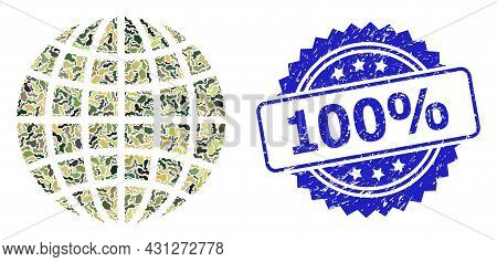 Military Camouflage Composition Of Globe, And 100 Percent Grunge Rosette Seal Print. Blue Seal Has 1