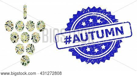 Military Camouflage Combination Of Grape Berry, And Hashtag Autumn Corroded Rosette Stamp. Blue Stam