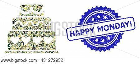 Military Camouflage Composition Of Marriage Cake, And Happy Monday Exclamation Scratched Rosette Sea