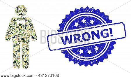 Military Camouflage Collage Of Sad Man, And Wrong Exclamation Corroded Rosette Stamp. Blue Stamp Inc