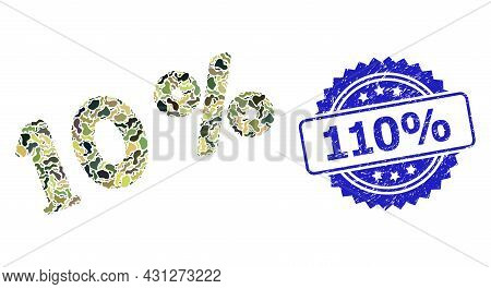 Military Camouflage Composition Of 10 Percents, And 110 Percent Textured Rosette Seal Imitation. Blu