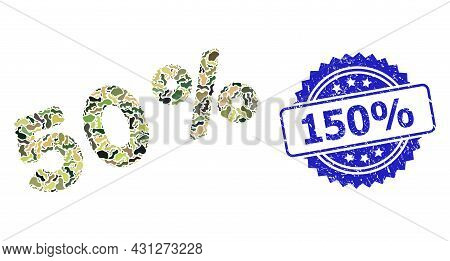 Military Camouflage Composition Of 50 Percents, And 150 Percent Grunge Rosette Seal. Blue Stamp Seal