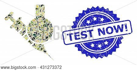 Military Camouflage Combination Of Chemical Vaccine, And Test Now Exclamation Grunge Rosette Stamp S