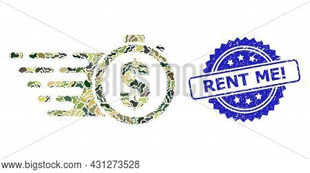 Military Camouflage Composition Of Credit Time, And Rent Me Exclamation Unclean Rosette Seal. Blue S