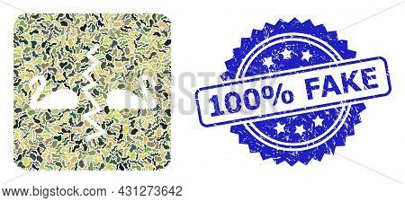 Military Camouflage Combination Of Divorce Swans, And 100 Percent Fake Textured Rosette Seal. Blue S