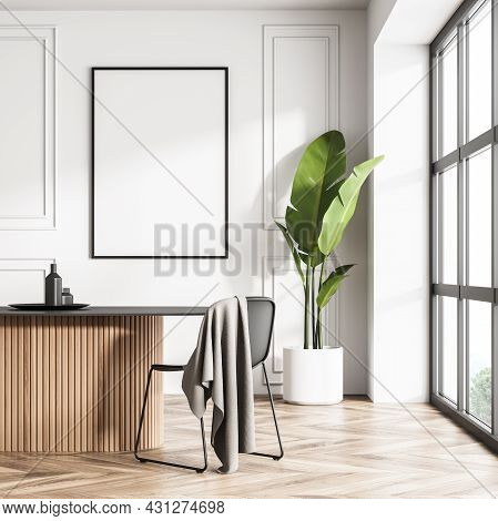 Poster On The Wall In The Panoramic White Dining Room Area With Original Oval Table, Minimalist Chai