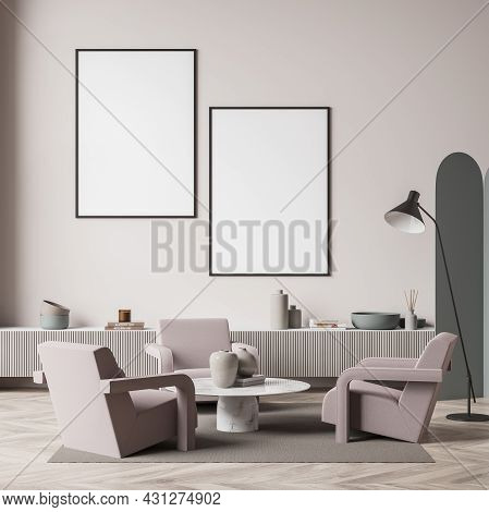 Living Room Interior With Two White Empty Poster, Three Armchairs, Crockery And Wooden Parquet Floor