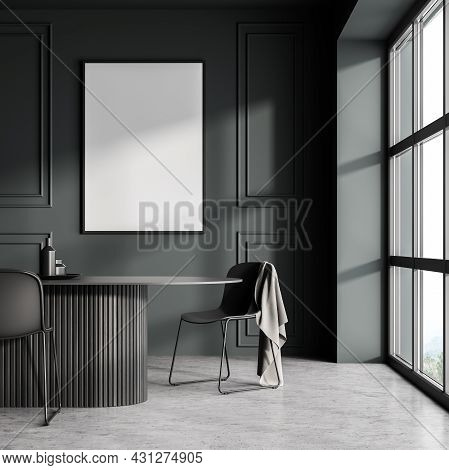 Poster On The Wall In The Dark Green And Grey Dining Room Area With Panoramic Window, Original Oval