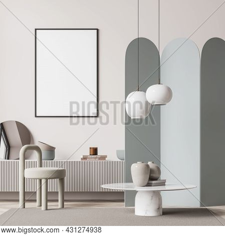 Living Room Interior With White Empty Poster, Chair, Crockery, Mirror And Wooden Parquet Floor. Conc
