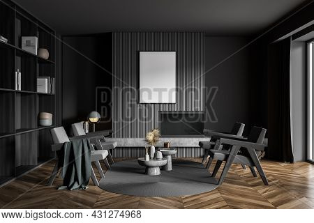 Poster In Dark Grey Living Room With Original Fireplace, Four Armchairs, Coffee Table Combination, O
