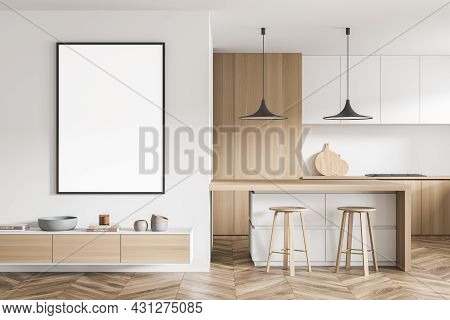 Framed Empty Canvas With Shelf Beneath Near The Kitchen Area With Cabinet, Table, Having Drawers And