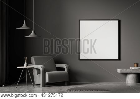 Dark Grey Living Room Interior With A Square Poster, Two Pendant Lamps And One Armchair With Coffee
