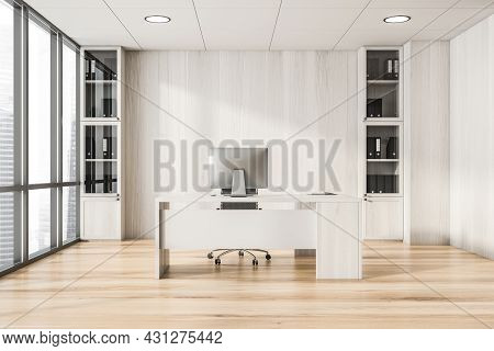 Bright Office Room Interior With Panoramic Window With City Skyscraper View, Desktop, Armchair, Whit