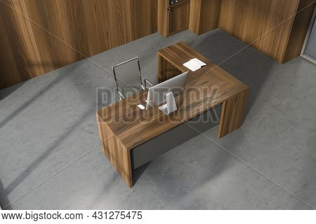 Top View On Office Room Interior With Desktop, Comfortable Armchair, Desk, Book, Shelf And Concrete