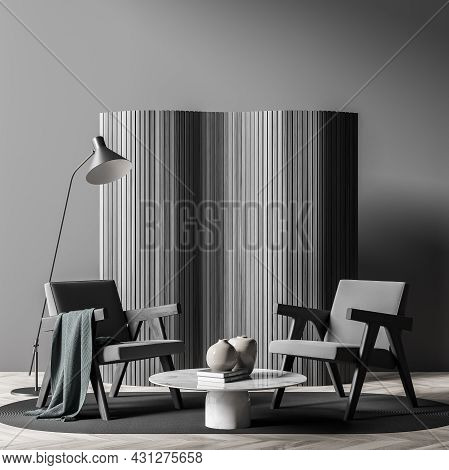 Dark Living Room Interior With Two Comfortable Armchairs, Cozy Coffee Table, Grey Carpet, Crockery,