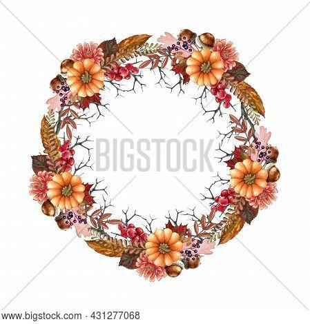 Autumn Flower Pumpkin Wreath. Watercolor Illustration. Hand Drawn Rustic Festive Round Decor With Pu
