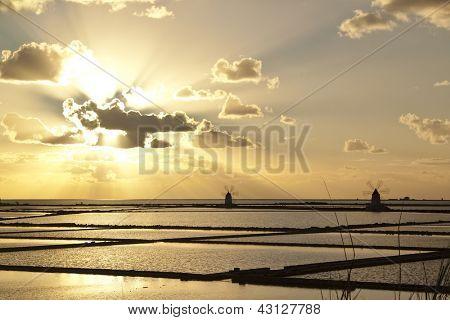 Sunset on Stagnone saltern, Marsala, Sicily