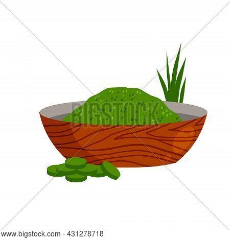 Spirulina In Bowl. Green Seaweed On Plate. Healthy Food In Powder. Ingredient For Cooking. Flat Cart