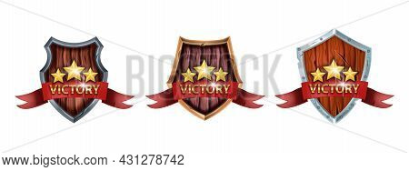 Victory Game Badge Set, Vector Ui Winner Award Shield, Achievement Level Up Prize Kit Isolated On Wh
