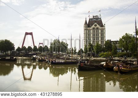 Rotterdam, Netherlands - July 25, 2021: Witte Huis (white House) Building In Rotterdam, Netherlands.