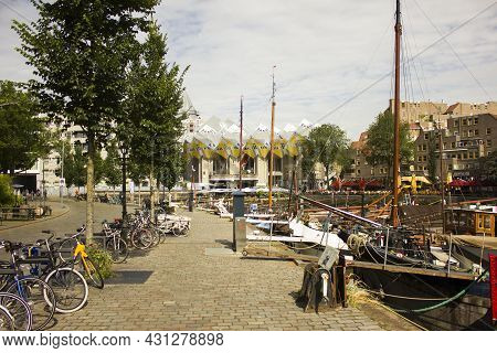 Rotterdam, Netherlands - July 25, 2021: Oude Haven View At Cube Houses In Rotterdam, The Netherlands