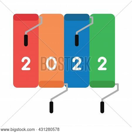 New Year 2022 Vector Concept, Paint Rollers, Paint In 4 Different Colors. Flat Colored Style.