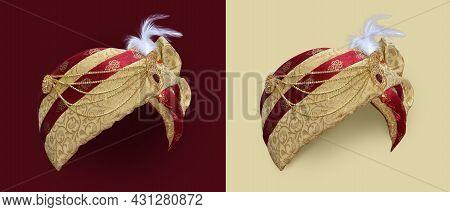 Wedding Turban Of Indian Groom. Sehra Of Indian Groom. Isolated Turban.