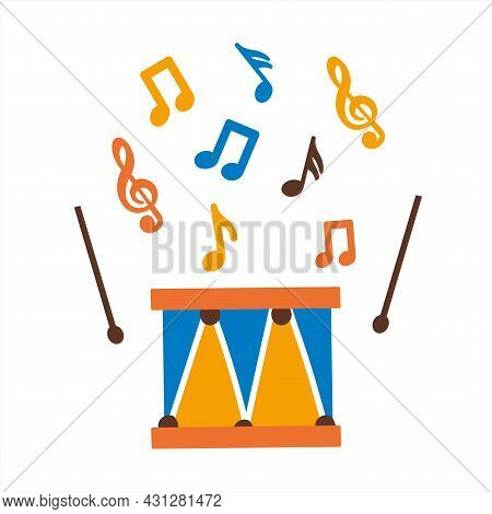 Children S Drum With Drumsticks And Notes. Green, Yellow And Red Colors. Children S Toy In The Style