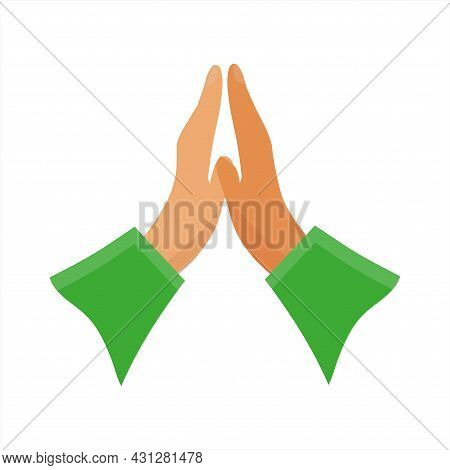 Hands Folded Together. Hands Folded In Prayer. Vector Illustration In Flat Style