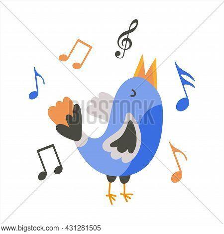 The Blue Bird Sings A Melody, Notes Around. Cute Little Singing Bird. Flat Clip-art Illustration